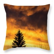 Silhouetted Evergreen Tree Throw Pillow