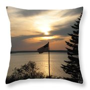 Silhouetted Flag At Sunset Throw Pillow