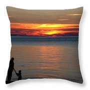 Silhouetted In Sunset At Sturgeon Point Marina Throw Pillow