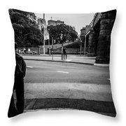 Silhouetted Man Leans Black And White Throw Pillow