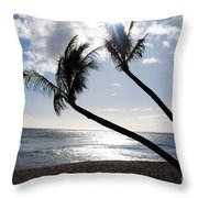 Silhouetted Palm Trees On Maui Beach Throw Pillow