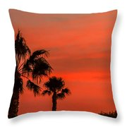 Silhouetted Palm Trees Throw Pillow