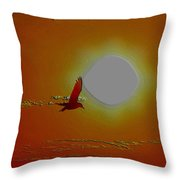 Silhouetted Seagull Emboss  Throw Pillow by Stephen Melcher