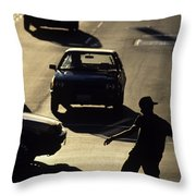 Silhouetted Skateboarder Throw Pillow