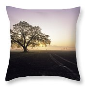 Silhouetted Tree In Field Sunrise Throw Pillow