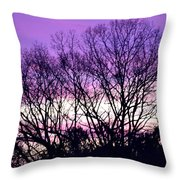 Silhouettes Against Pink Skies Throw Pillow