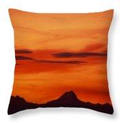 Silhouettes Of Alps Throw Pillow