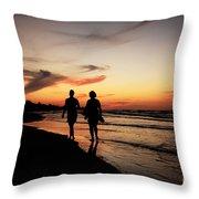 Silhouettes On Varadero Beach Throw Pillow