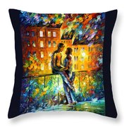 Silhouettes - Palette Knife Oil Painting On Canvas By Leonid Afremov Throw Pillow