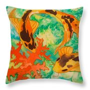 Silk Koi Throw Pillow