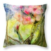 Silky Almond Flower Throw Pillow