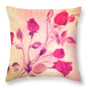 Silky Red Roses Throw Pillow