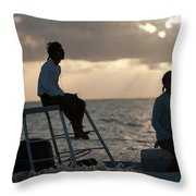 Sillouetted Man Steers Flats Boat Throw Pillow