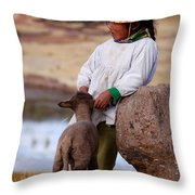 Sillustani Girl With Hat And Lamb Throw Pillow