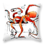 Silly Octopus Taking A Bath Throw Pillow