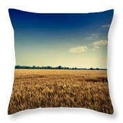 Silo In Wheat Throw Pillow