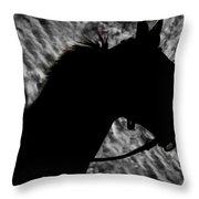 Silouette Of A Stallion Throw Pillow