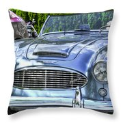 Silver 1963 Austin Healey Roadster 3000 Throw Pillow