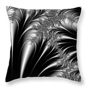 Silver And Black Abstract Throw Pillow