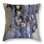 Silver And Black Illuminating Bull Skull Throw Pillow