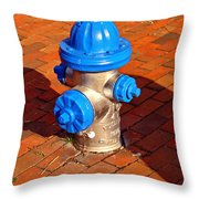Silver And Blue Hydrant Throw Pillow