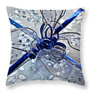 Silver And Blue Wrapped Gift Art Prints Throw Pillow