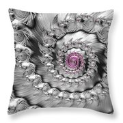 Silver And Pink Spiral Glossy Silber Metal Throw Pillow