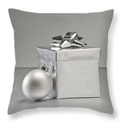 Silver Bauble And Present Throw Pillow