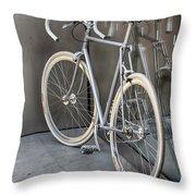 Silver Bike Throw Pillow