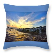 Silver Drops At Sunset Throw Pillow