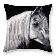 Grey Arabian Mare Painting Throw Pillow