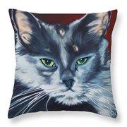 Silver Grey Cat Portrait Throw Pillow