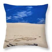 Silver Lake Dune With Dead Tree Branch And Cirrus Clouds Throw Pillow