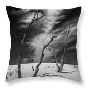 Silver Lake Dune With Dead Trees And Cirrus Clouds In Black And White Throw Pillow