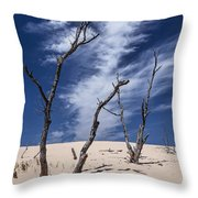 Silver Lake Dune With Dead Trees And Cirrus Clouds Throw Pillow