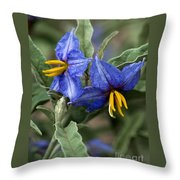 Silver Leaf Blooms Throw Pillow