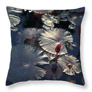 Silver Lilypads Throw Pillow