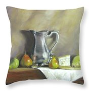 Silver Pitcher With Pears Throw Pillow by Jack Skinner