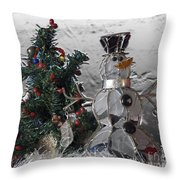 Silver Snowman With Christmas Tree Throw Pillow
