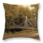 Silver Suspension Bridge Throw Pillow