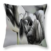 Silver Tulips Throw Pillow