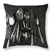 Silverware With Salt Throw Pillow