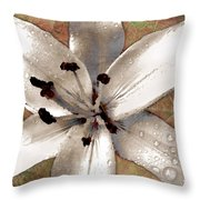 Silvery Asiatic Lily Throw Pillow