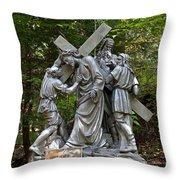 Simon Helps Jesus Throw Pillow