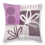Simple Flowers- Contemporary Painting Throw Pillow by Linda Woods
