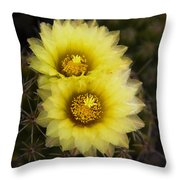 Simply Golden Cactus Flowers  Throw Pillow