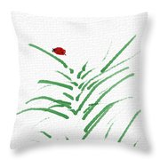 Simply Ladybugs And Grass Throw Pillow
