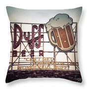 Simpsons Duff Beer Neon Sign Throw Pillow by Edward Fielding