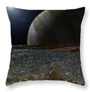 Simulated View From Europas Surface Throw Pillow
