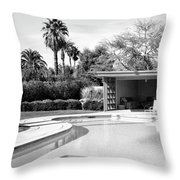 Sinatra Pool And Cabana Bw Palm Springs Throw Pillow